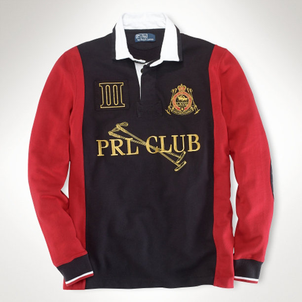 Polo Ralph Lauren Black Long-Sleeved Custom-Fit PRL Club Fleece Rugby Shirt 95c8028e1172